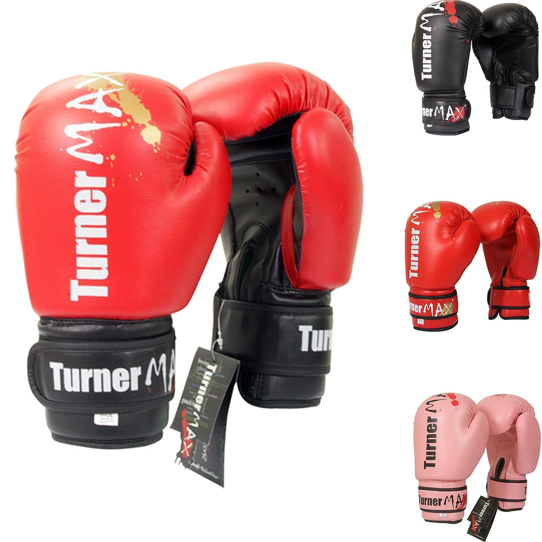 TurnerMAXキックボクシンググローブプロフェッショナル総合格闘技スパーリングバッグレッドブラック  12 oz