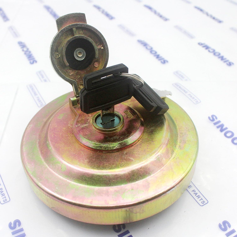 Excavator Fuel Tank Lock Cap SINOCMP Excavator Fuel Tank Lock Cap for Daewoo Doosan 2 Key Fuel Locking Cap Assy Excavator Parts 3 Month Warranty