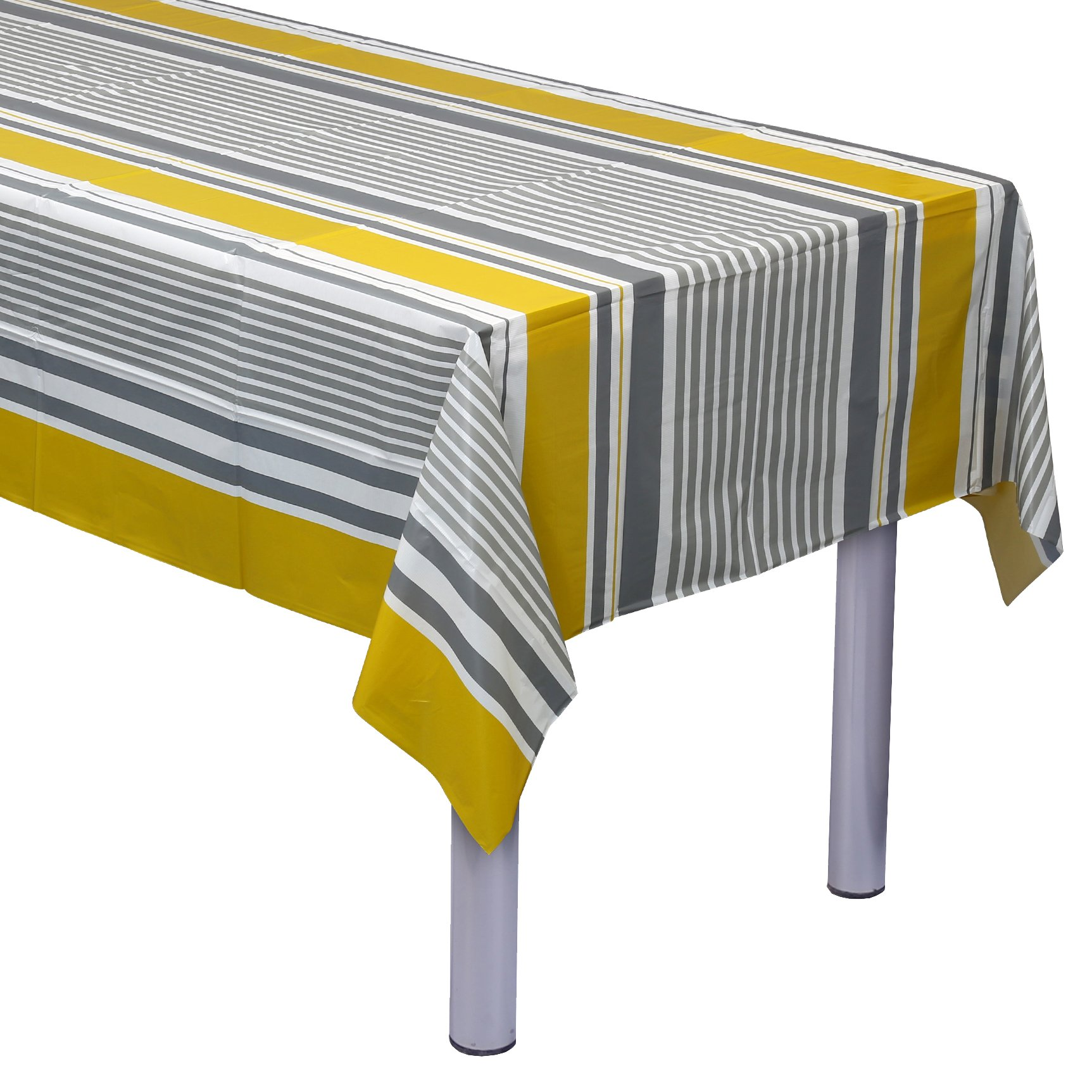 Plastish Disposable Plastic Tablecloths | Size 54 X 108 Inches | 13 Count | Mustard & Grey Striped Design | Covers an 8 Ft. Rectangle Picnic Party Table | Many Sizes Available