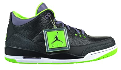 buy popular 7c24a 6d027 Jordan Air 3 Retro Joker Men s Shoes Black Electric Green Canyon  Purple White