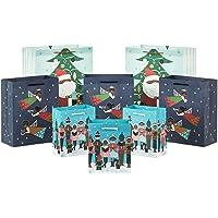 "Hallmark Mahogany Christmas Gift Bag Assortment (8 Bags; 3 Small 6"", 3 Medium 9"", 2 Large 13"") Black Santa Claus…"
