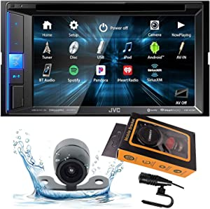 "JVC KW-V25BT (KWV25BT) Double DIN in-Dash Bluetooth CD/DVD/AM/FM/Digital Media Car Stereo Receiver w/ 6.2"" Touchscreen, Pandora, Spotify and iHeartRadio Control + Gravity Magnet Phone Holder"