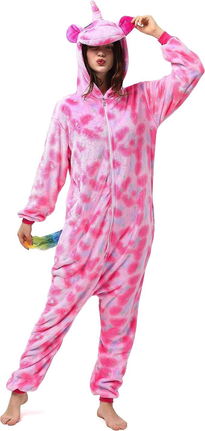 Katara- Pijama (10+ Modelos) Disfraz Animales Cosplay Adultos, Color Unicornio Rosa Oscuro, Talla 165-175cm (1744)