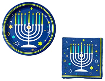Hanukkah Party Supplies Bundle ~ 9 Inch Paper Plates and 6.5 Inch Napkins With Menorah Design  sc 1 st  Amazon.com & Amazon.com: Hanukkah Party Supplies Bundle ~ 9 Inch Paper Plates and ...