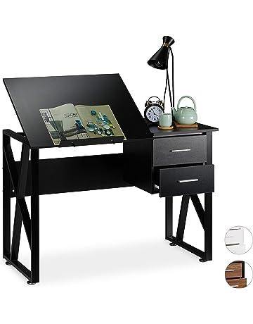 Cocoarm Scrivania del Computer Studio scrivania con 2 cassetti Tavolo per Computer Banco di Studio Scrivanie arredo Studio Tavolo per Computer con Gambe in Acciaio