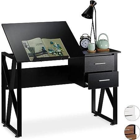 Table de Laptop ou de Dessin Panneau de Particules Fer r/églable 75 x 110 x 55 cm Relaxdays Noir Bureau avec pupitre inclinable