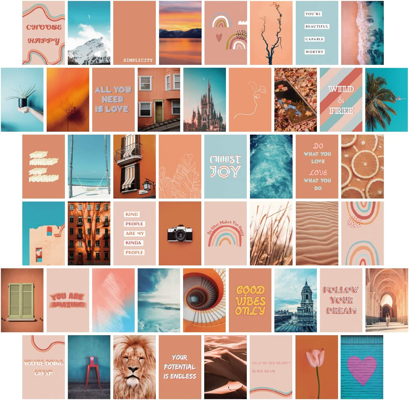 YUMKNOW Aesthetic Wall Collage Kit - 4x6 inch Set of 50, Teen Girl Room Decor for Bedroom Dorm, Motivational Wall Art, Peach Teal Blue Photo Picture Posters, Inspirational Gift for Teenage Girls Her