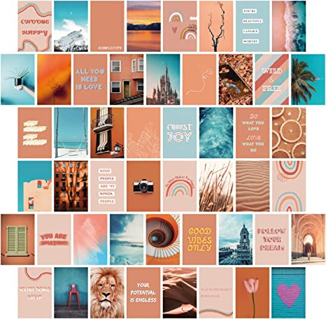 Amazon Com Yumknow Aesthetic Wall Collage Kit 4x6 Inch Set Of 50 Teen Girl Room Decor For Bedroom Dorm Motivational Wall Art Peach Teal Blue Photo Picture Posters Inspirational Gift For Teenage