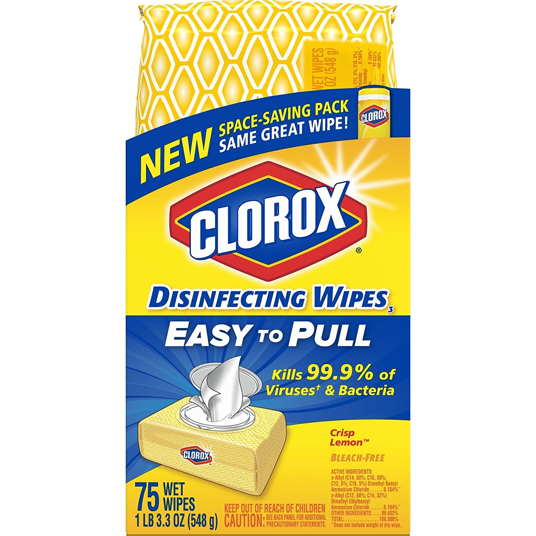 Clorox Disinfecting Wipes, Crisp Lemon - 75 Wipes (31404)