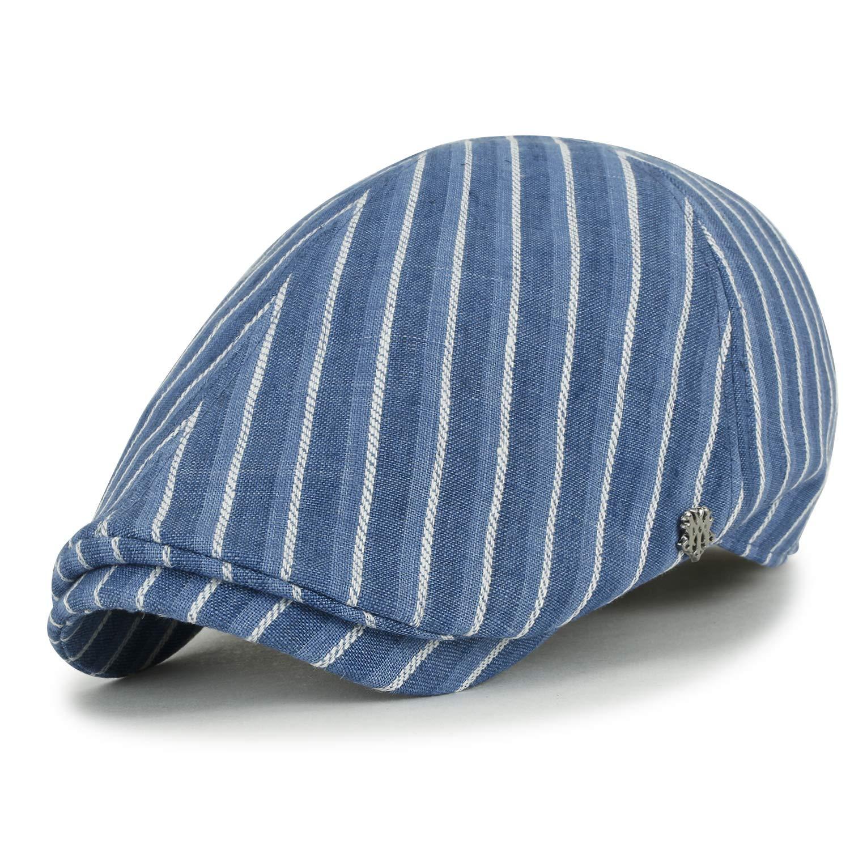 ililily gestreift Stich Leinen Gatsby Schieber Hut Cabbie XL grosses flach Cap Chauffeurhut