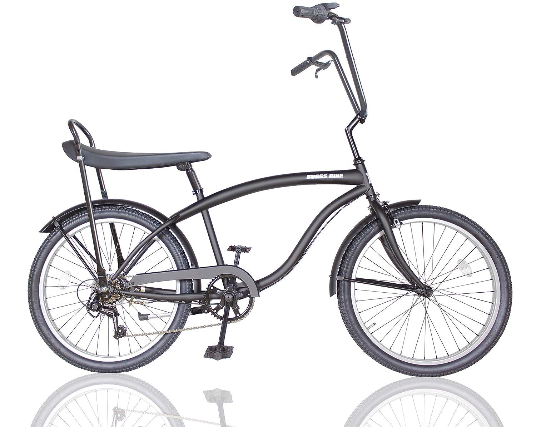 ビーチクルーザー カスタム 24インチ 自転車 ギア付 バナナシート チョッパーハンドル フルカスタム  ブラック/グレー B07NDJ641X