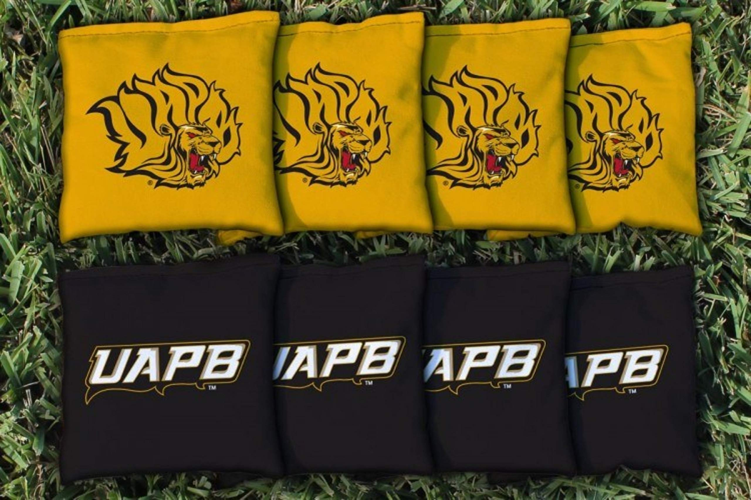 Victory Tailgate NCAA Regulation Cornhole Game Bag Set (8 Bags Included, Corn-Filled) - Arkansas Pine Bluff UAPB Golden Lions