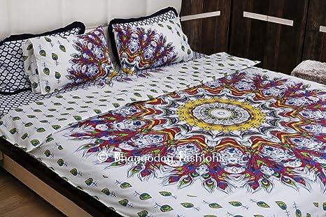 Bhagyoday fashions indiano piuma di pavone mandala reversibile