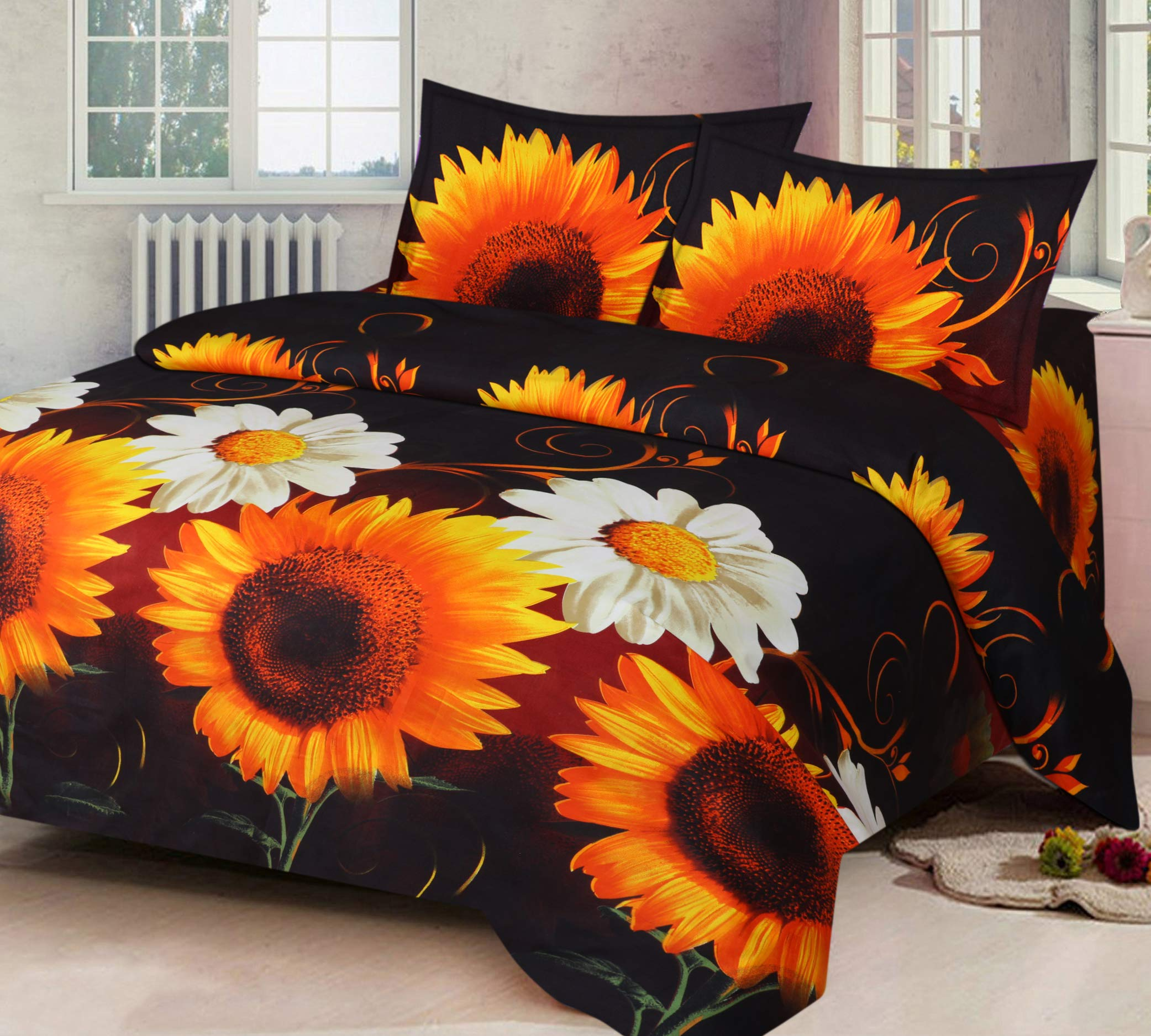 Home Candy Elegant 3-D Reactive Print Microfiber Double Bedsheet with 2 Pillow Covers - Floral, Multicolor (SRB-BST-324) product image