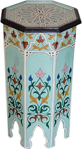 Moroccan Handmade Wood Table Side Tall Delicate Hand Painted Exquisite Light Blue