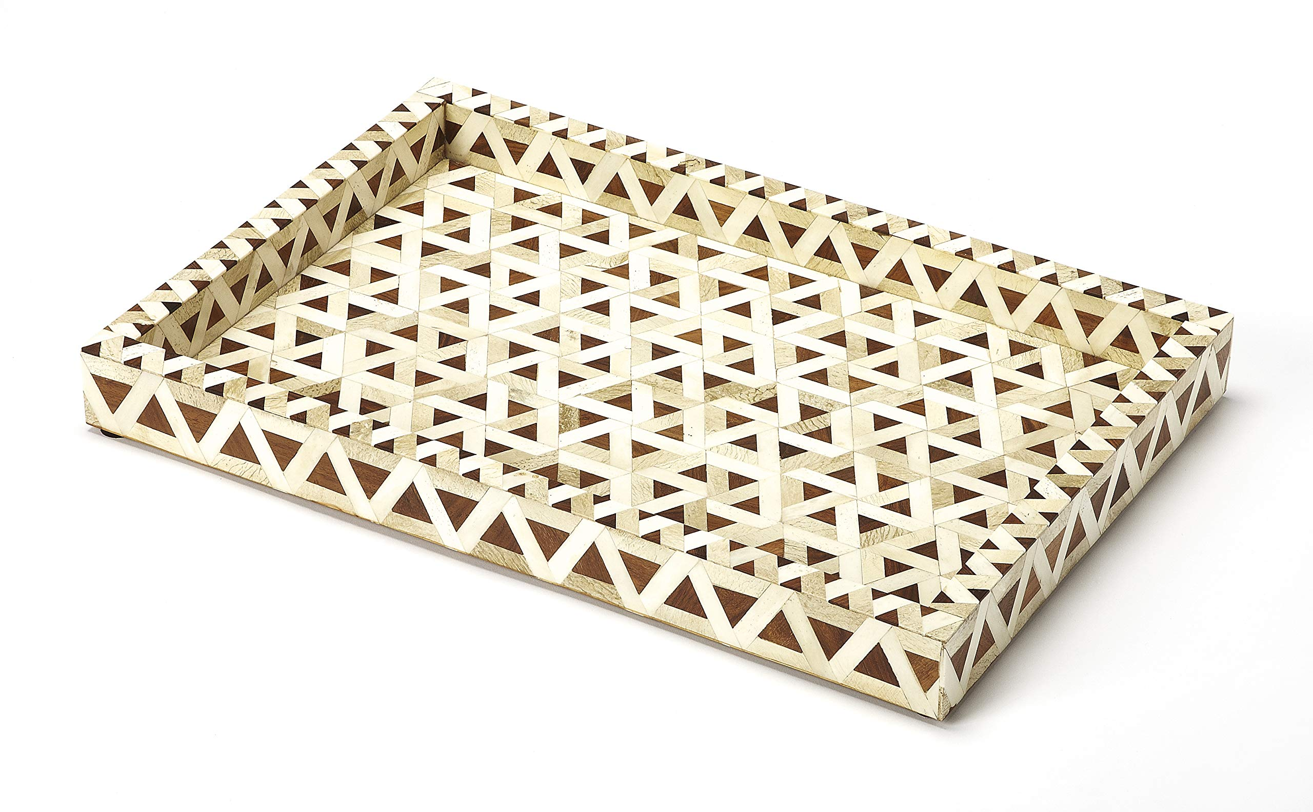 Amal Wood and Bone Inlay Serving Tray in Wood