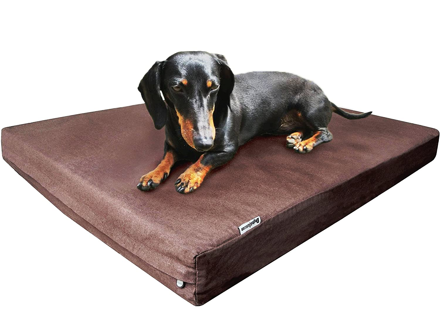 Dogbed4less Durable Memory Foam Dog Bed with 2 Denim Covers and Waterproof Liner for Medium Large Pet Fit into 42 X28 Crate