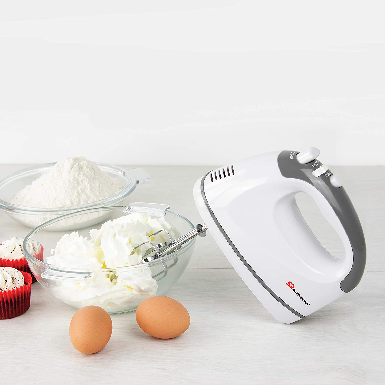 SQ Professional Blitz Hand Mixer, Turbo Button, 5 Speed Control, 2X Beaters, 2X Dough Hooks 300W (Black) White