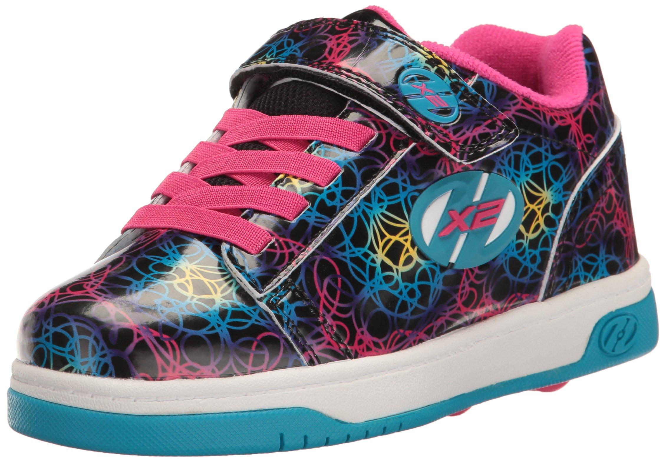 Heelys Girls' Dual Up x2 Sneaker, Black/Cyan/Multi, 1 M US Little Kid