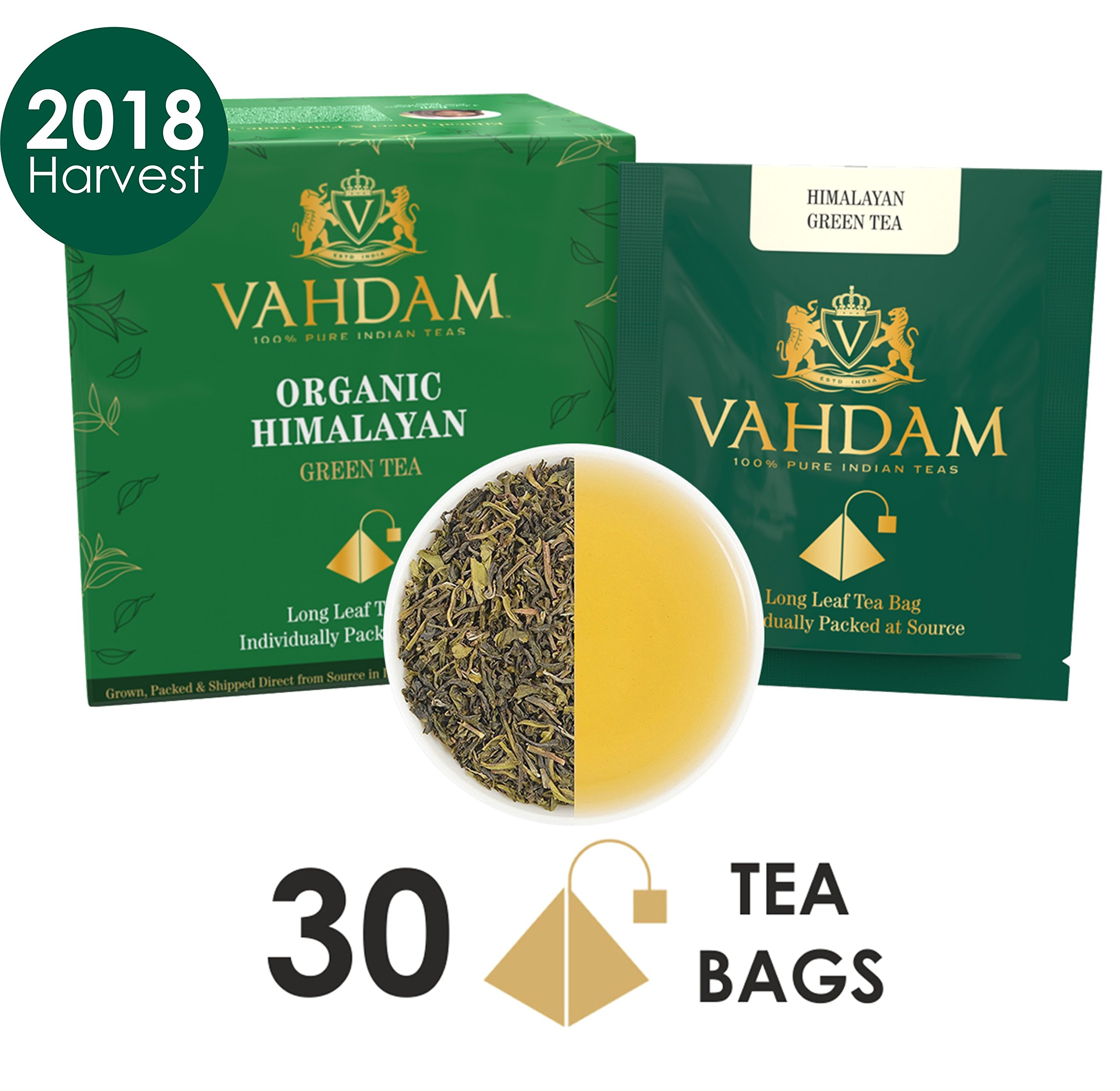 Organic Green Tea Leaves from Himalayas (30 Tea Bags), 100% Natural Weight Loss Tea, Detox Tea, Slimming Tea, ANTI-OXIDANTS RICH - Green Tea Loose Leaf - Brew Hot or Iced Tea - 15 Ct (Pack of 2) by VAHDAM