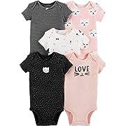 Carter's Baby Girls 5-Pack Original Short Sleeve Bodysuits (Cat) (3 Months)