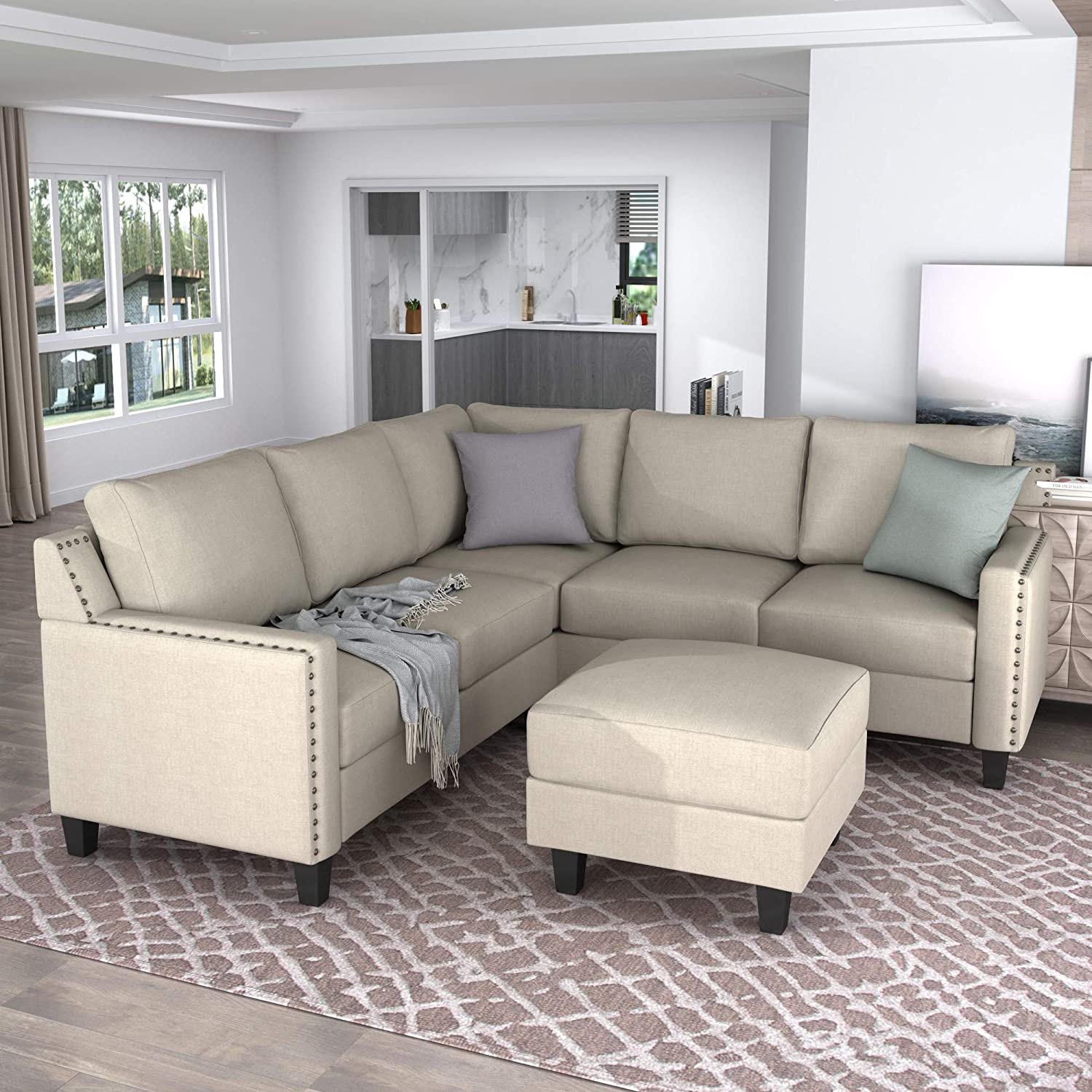 GAOPAN Sectional Furniture Ottoman. Home L-Shaped Couch, Rivet Modern Upholstered Sofa Set for Living Room, Beige