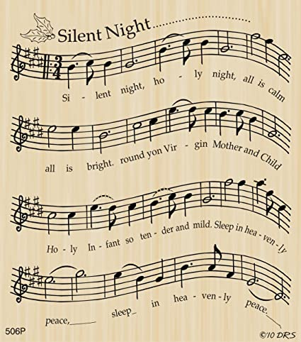 Amazon Silent Night Sheet Music Rubber Stamp By DRS Designs