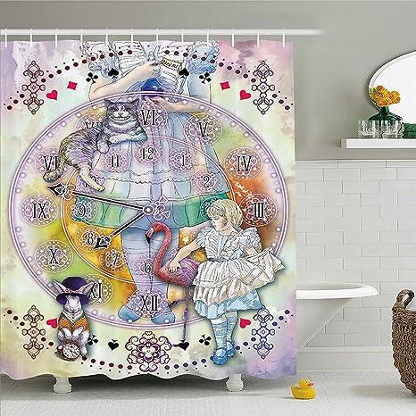 Mirryderr Alice In Wonderland Decor Shower Curtain Magical Fantasy World Of Adventure Clock Flamingo Cheshire