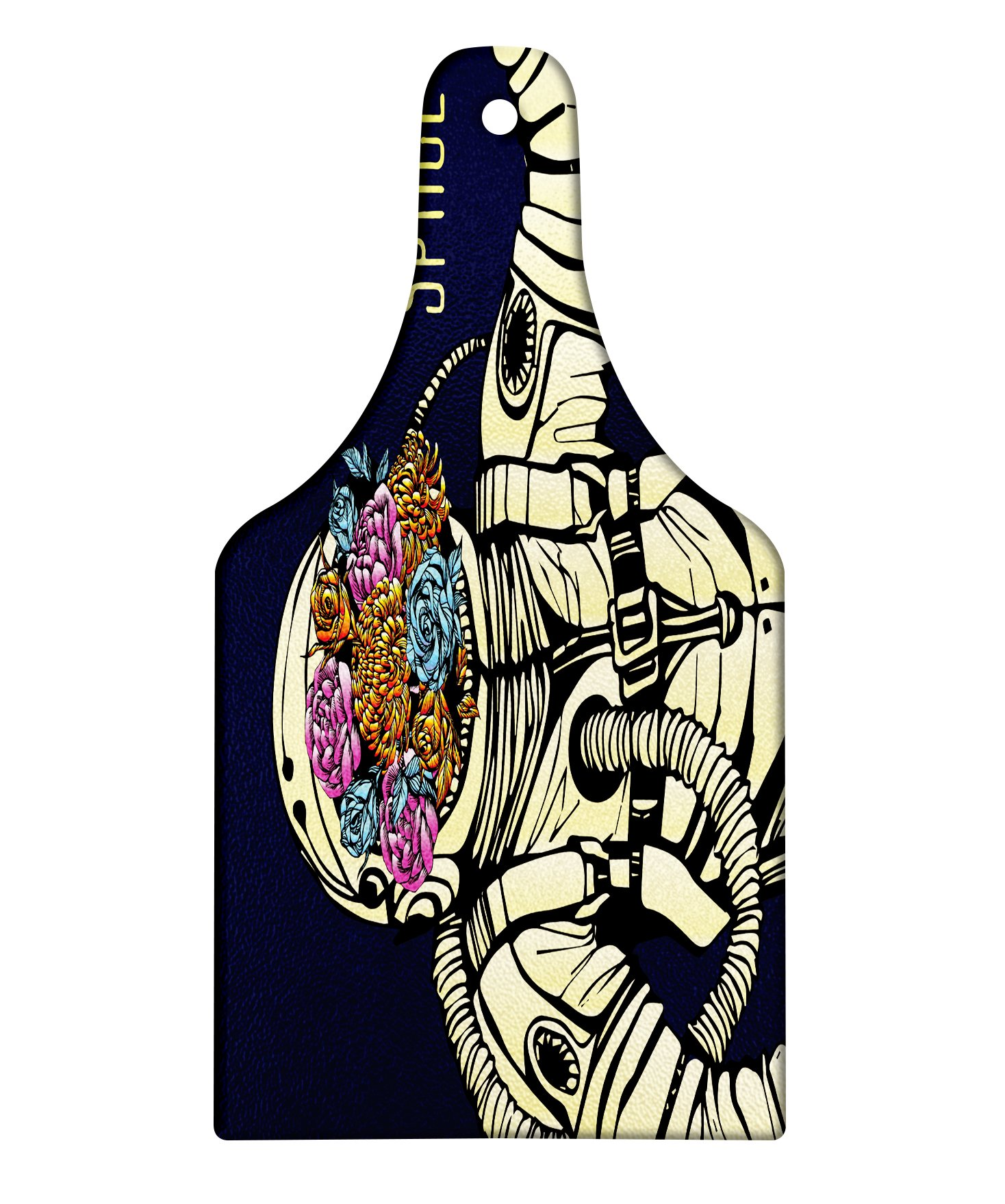 Lunarable Outer Space Cutting Board, Floral Cosmonaut Man in The Spacesuit Solar System Alien Comet Cartoon Image, Decorative Tempered Glass Cutting and Serving Board, Wine Bottle Shape, Yellow Blue