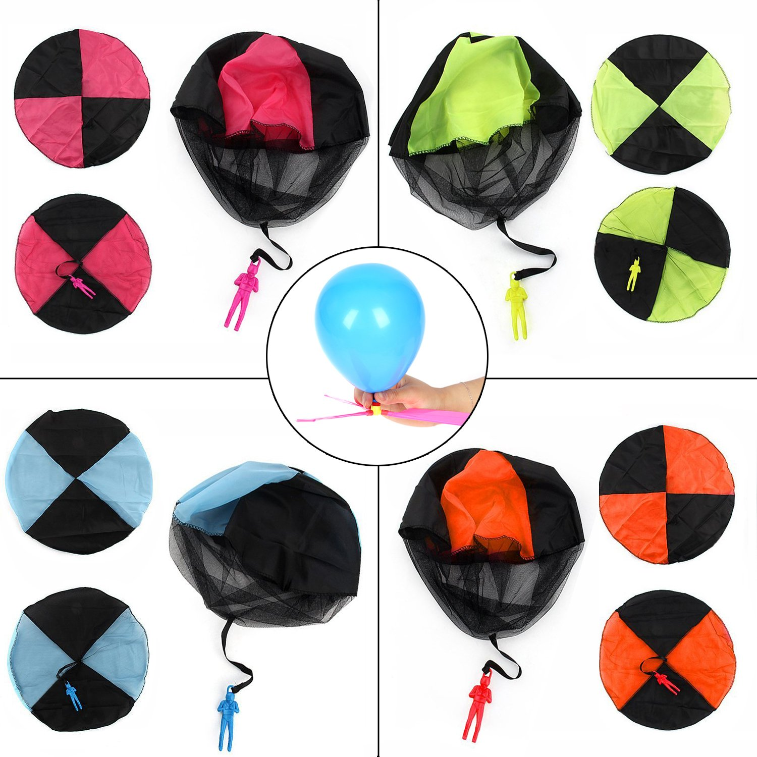 Qiwoo 5 Pack Flying Toy Parachute Balloon Helicopter Toys for Kids 4 Colors Mini No Tangle Throwing Flying Parachute Army Man Sports  Outdoor Play for Childrens Boys Girls Teens Party Favors by Qiwoo (Image #6)