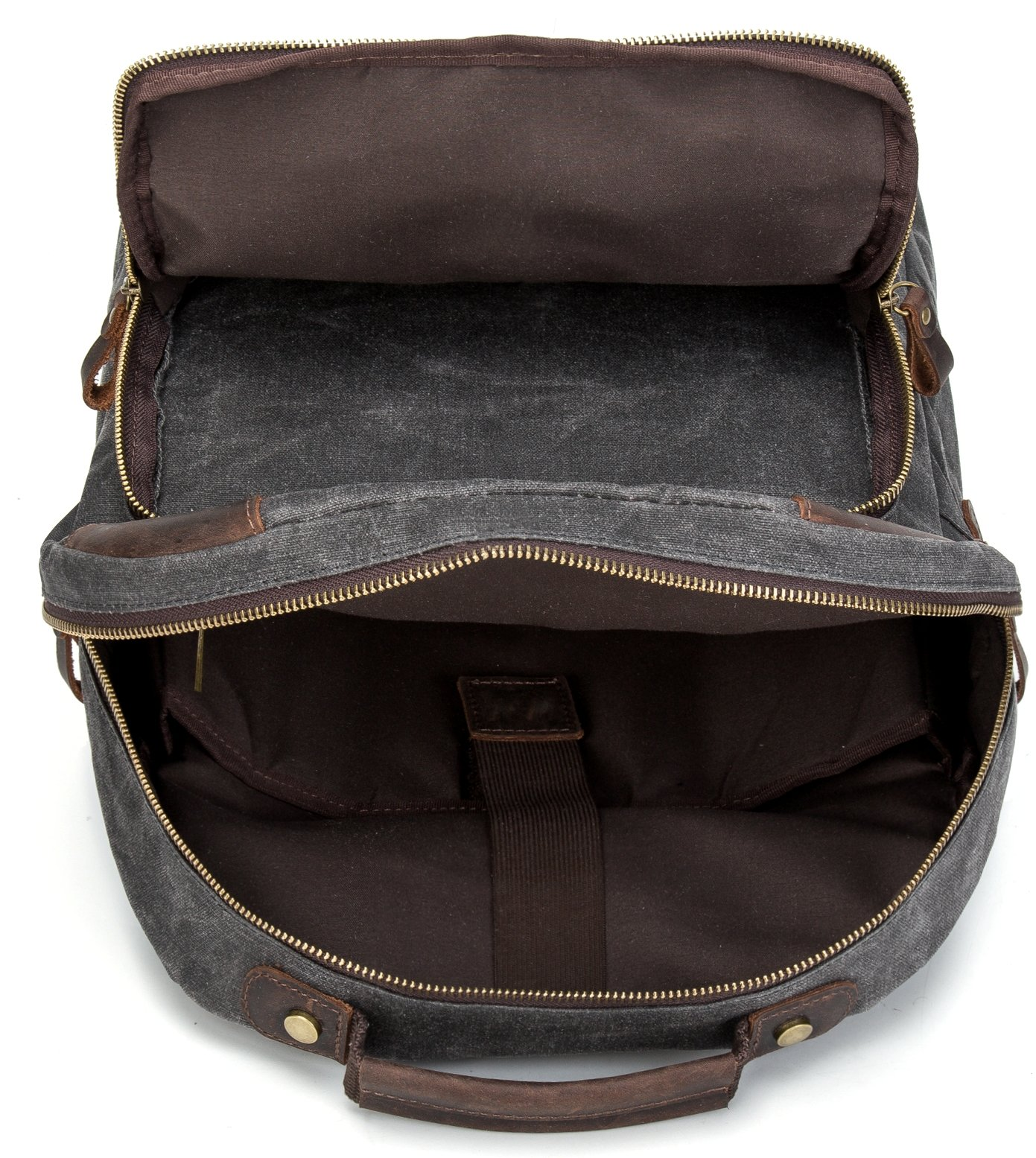 Vintave Waterproof Oil Waxed Canvas Genuine Crazy Horse Leather College Weekend Travel Laptops Backpack Fit to Laptop Up to 15.6 Inch By 1XD GEAR by 1XD GEAR (Image #5)
