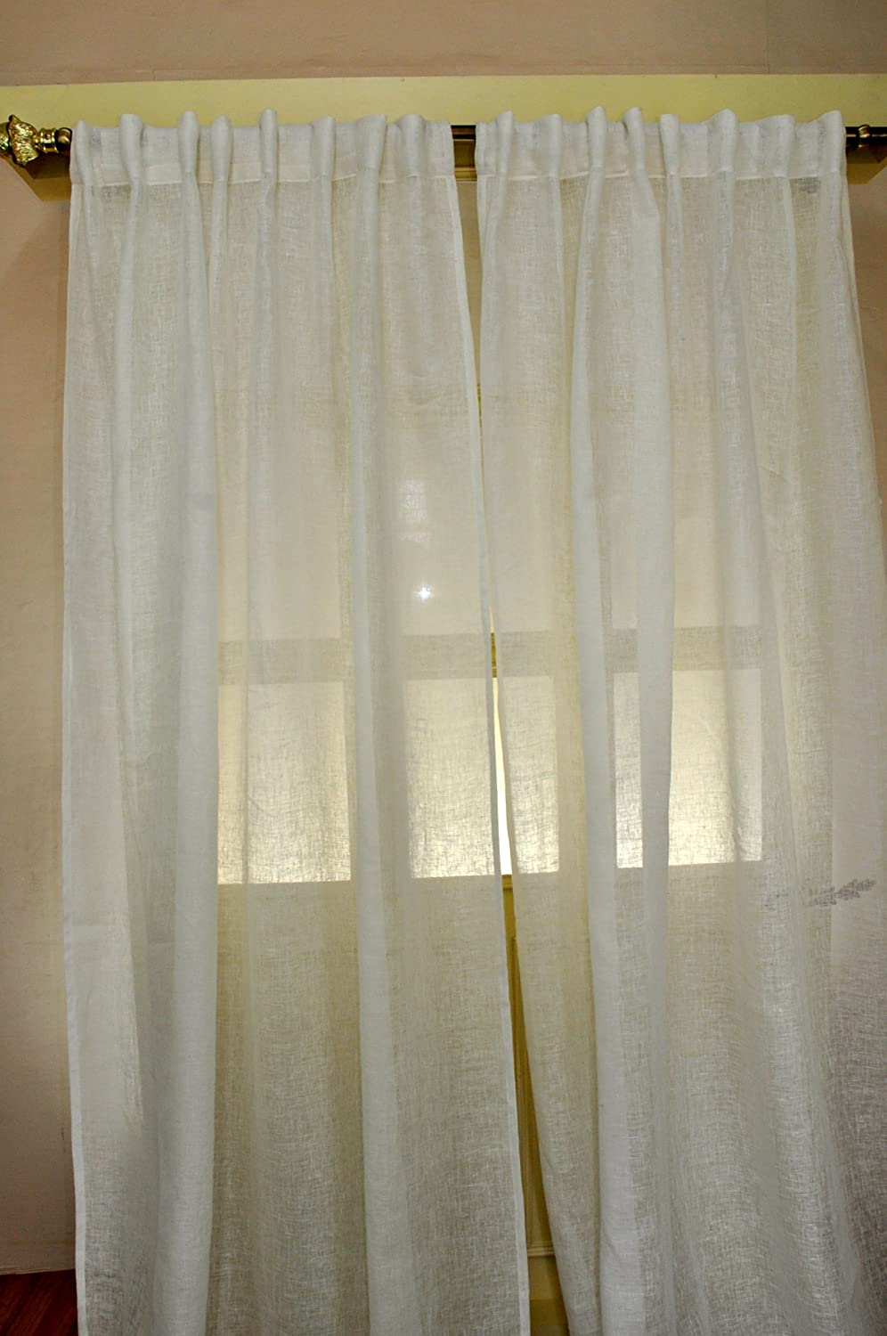 Amazon Ivory Linen Sheer Curtain 52W X 108L Home Kitchen