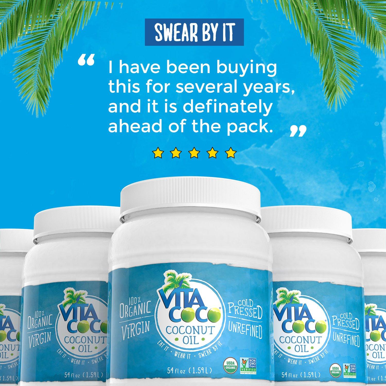 Vita Coco Organic Virgin Coconut Oil, 54 Oz - Non GMO Cold Pressed Gluten Free Unrefined Oil - Used For Cooking Oil - Great for Skin Moisturizer or Hair Shampoo - BPA Free Plastic Jar by Vita Coco (Image #4)