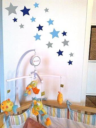 Kinderzimmer sterne blau  tjapalo® 24 Stk selbstklebende Sterne Aufkleber Set blau lichtblau ...