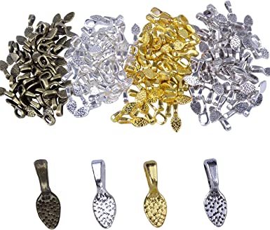 Metal Pendant Holder Antiqued Brass Pendant Holders Spoon Glue on Bails Retro Pendant Bails Bronze Bails Spoon Pendant Bails B248