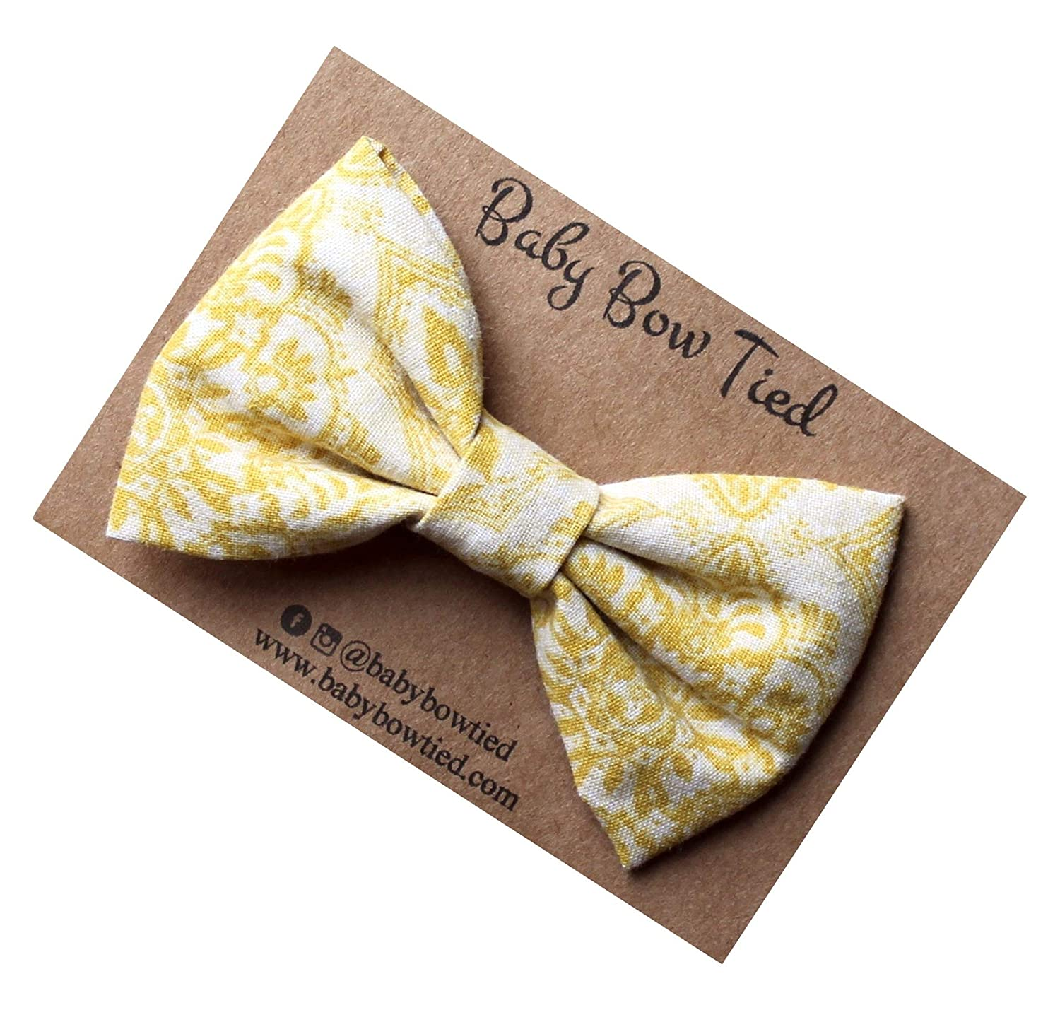 Handmade Yellow Paisley Pre-tied Clip on Bow Tie for Boys