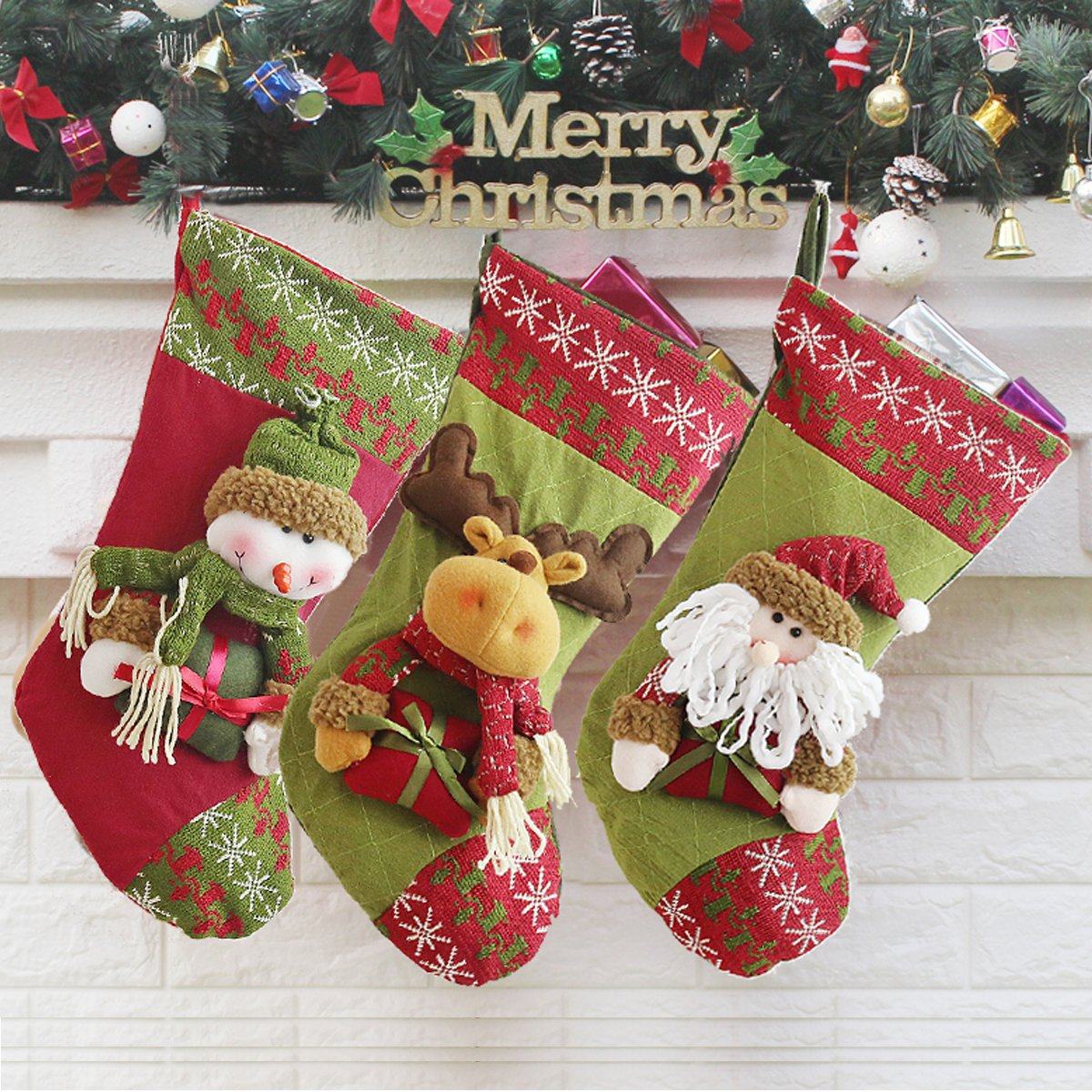 3 PCS Set Christmas Stockings Holiday3D Hangers Holders 18'' Inch Christmas Decorations Santa Claus/Snowman/Reindeer