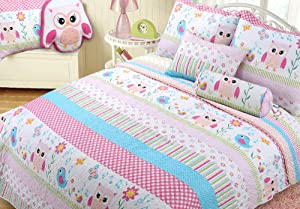 Cozy Line Home Fashions Happy Owl Pink Reversible Quilt Bedding Set, Coverlet, Bedspreads for Kids, Girls (Happy Owl, Twin - 2 Piece)