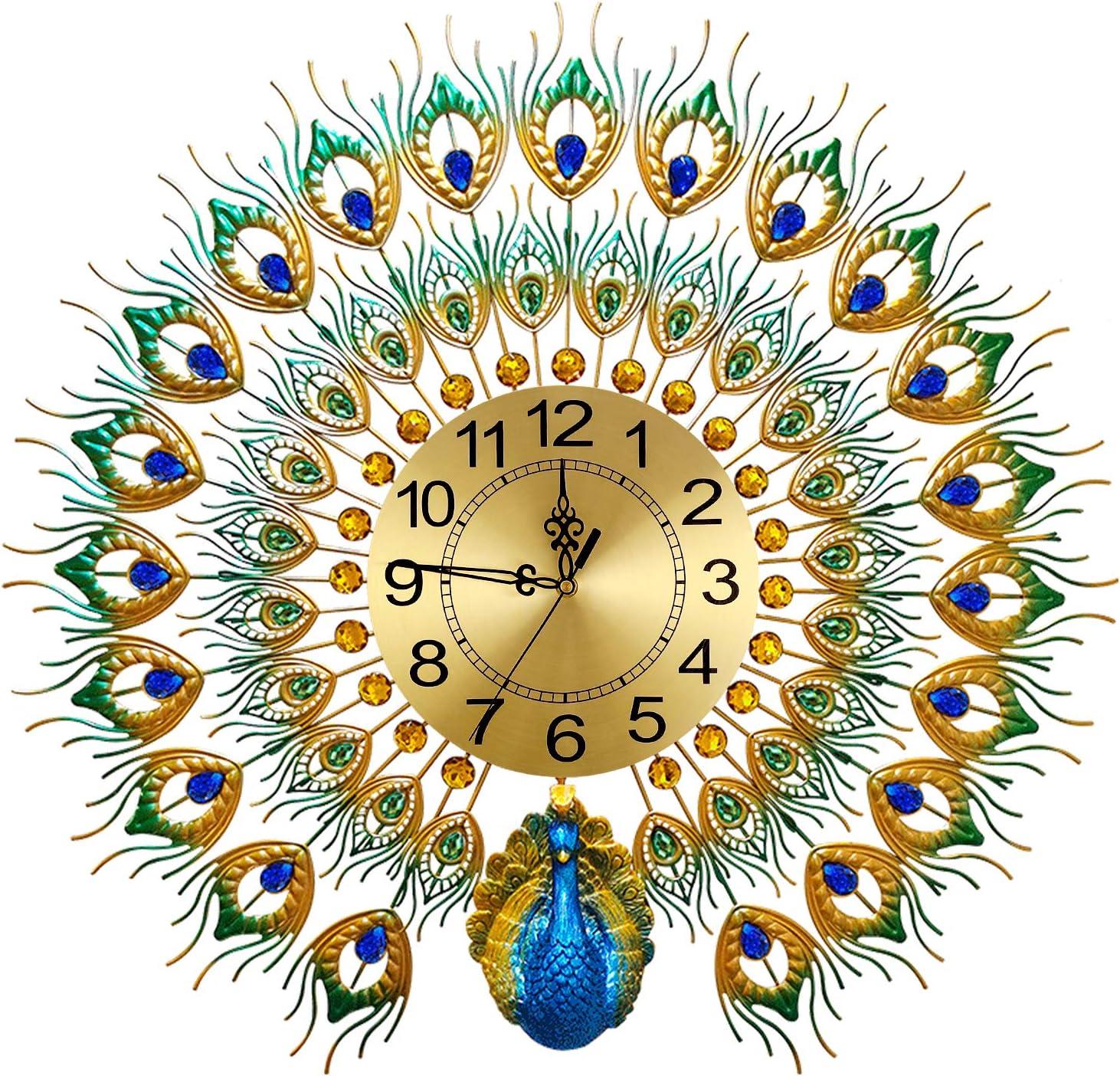 Large Peacock Wall Clock 27.6 inch Metal Design Non-Ticking Silent Art Digital Wall Clocks for Living Room Decor