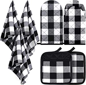 7 Pieces Buffalo Check Dish Towels Pot Holders Oven Mitts Set Cotton Plaid Kitchen Dish Towels Non-Slip Heat Resistant Oven Mitts and Pot Holders for Cooking Baking Grilling Supply (Black with White)