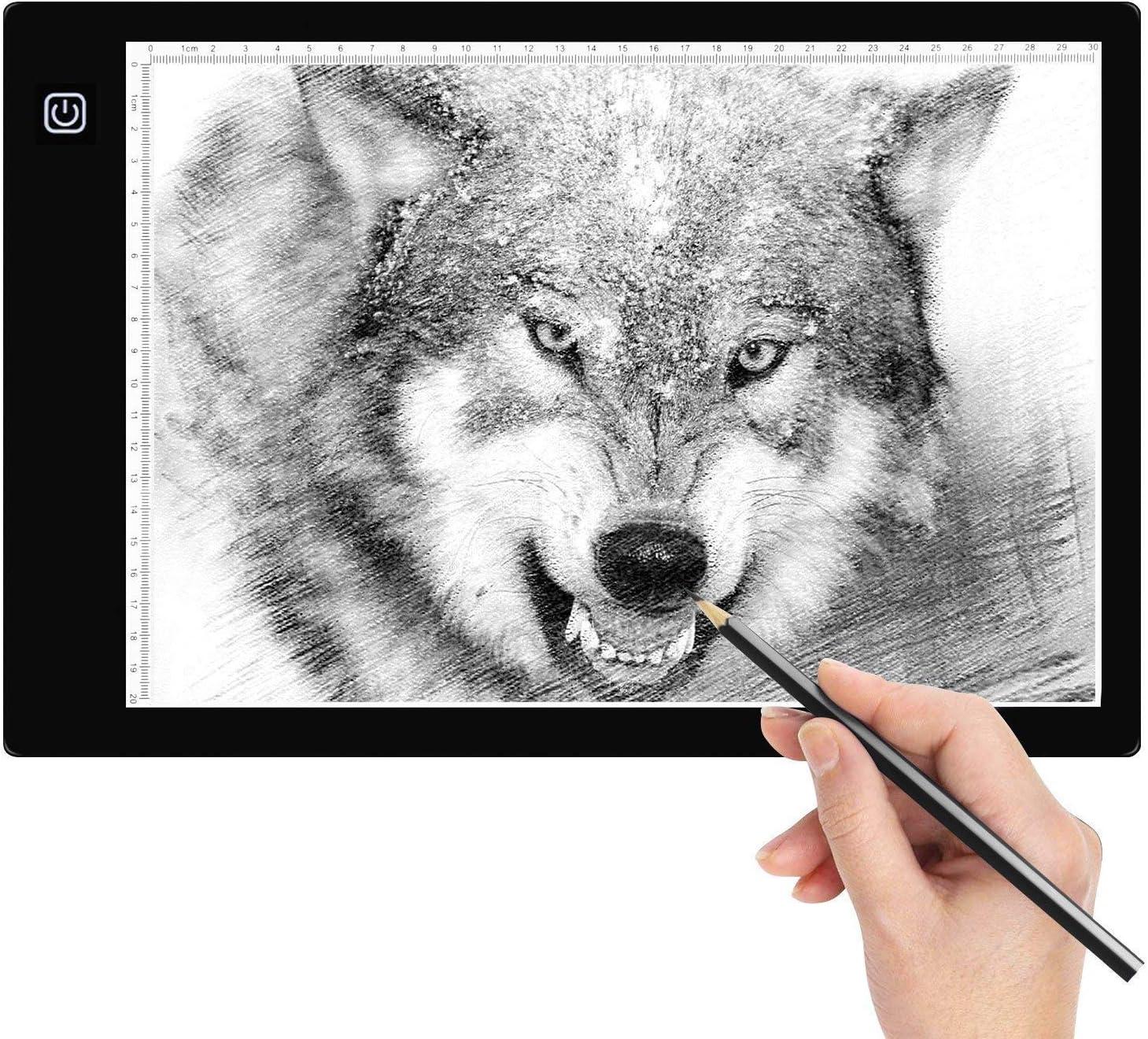 Amzdeal Mesa de Luz Dibujo, A4 LED Portátil Tableta de Luz Ultradelgada con Panel Táctil y Óptico Inteligente Interfaz USB para Artistas, Dibujo, Animación