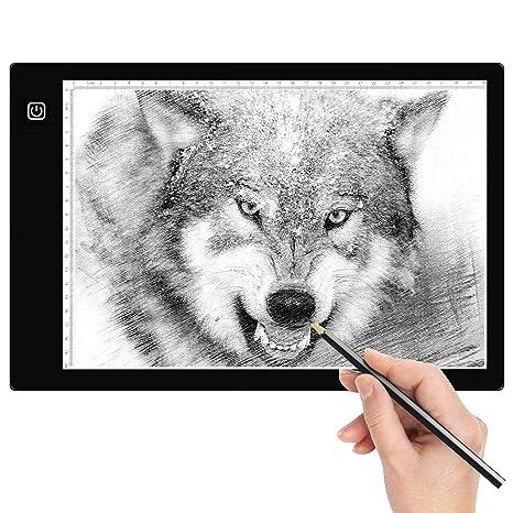 Amzdeal Tableros de Dibujo Portátil A4, Mesa de Luz Dibujo Ultradelgadocon Panel Táctil y Óptico