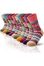 Women Wool Socks for Winter, Vintage Winter Socks Thick Cozy Knit Wool Socks for Women (A-10 Pairs)
