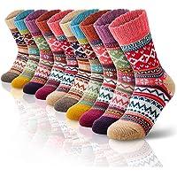 SEVENS Women Wool Socks for Winter, Vintage Winter Socks Thick Cozy Knit Wool Socks for Women
