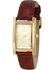 Peugeot Women's Classy 14K Gold Plated H Rectangle Case Leather Band Dress Watch