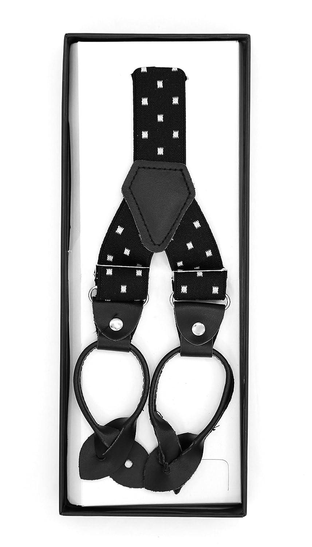 Ferrecci Unisex Polka-Dot Diamond /& Striped BUTTON END Suspenders
