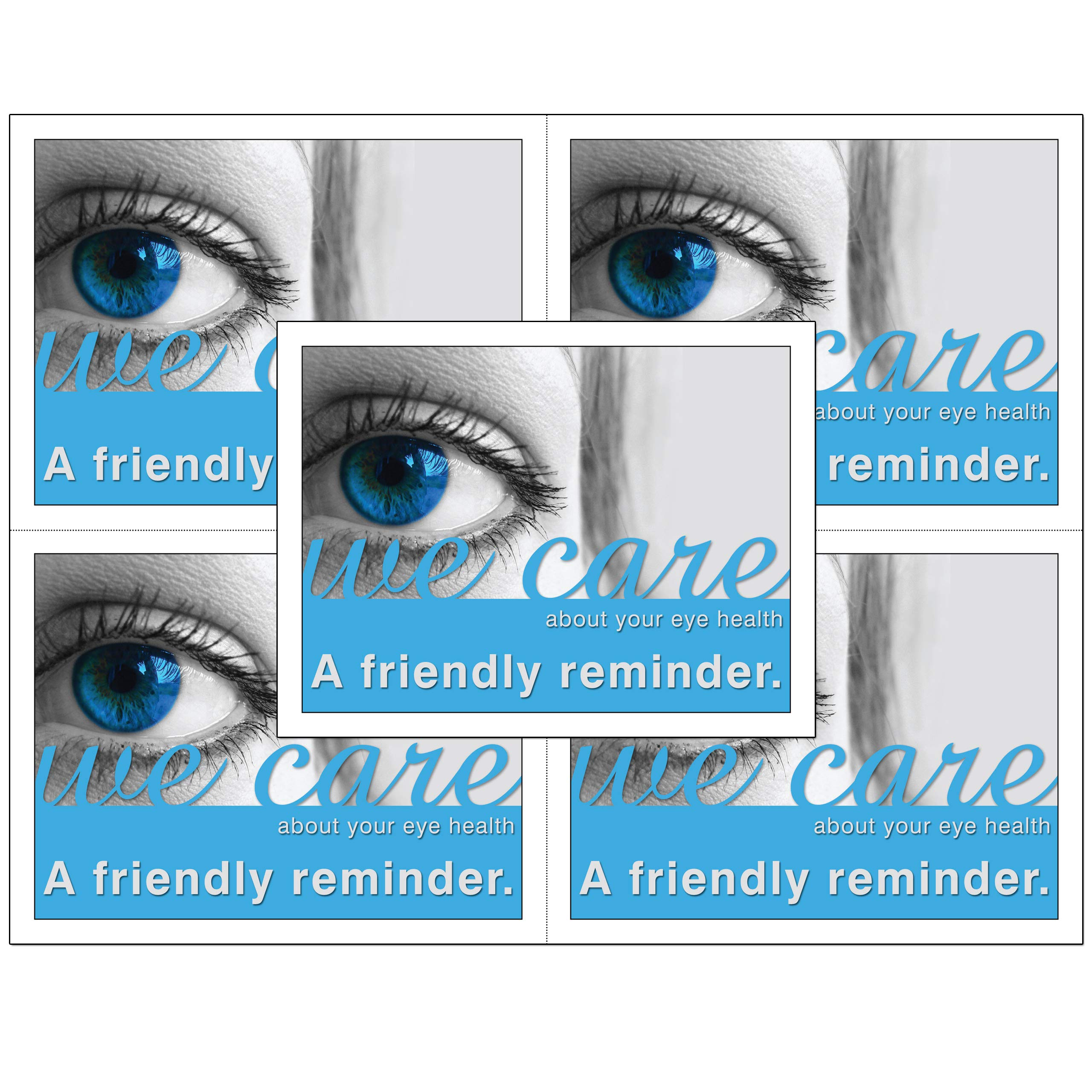 Optometric or Optical Laser Appointment Reminder Postcards with Personalizable Backs. 4 Cards Micro Perforated for Tear-Off at 4.25'' x 5.5'' on an 8.5'' x 11'' Sheet of 8 Pt Card Stock. (500) by Custom Recall
