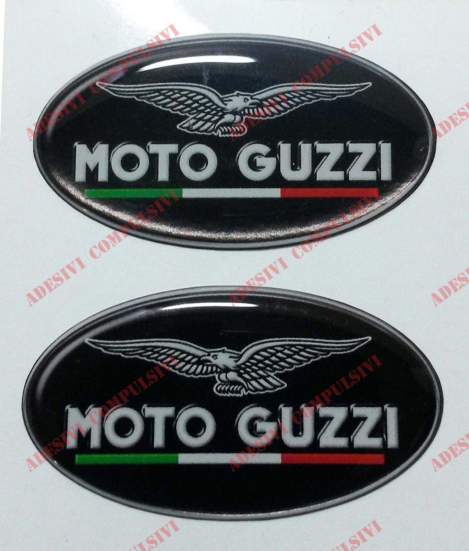 Escudo Logo Adhesivo Moto Guzzi, con bandera italiana, par de pegatinas resinadas, efecto 3D.Para tanque o casco. Adesivi Compulsivi Harley Davidson