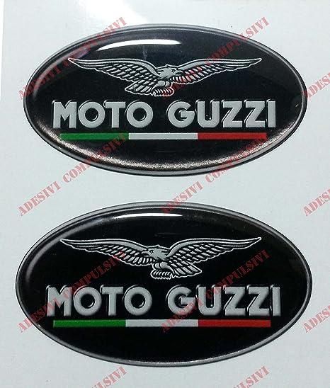 Escudo Logo Adhesivo Moto Guzzi, con bandera italiana, par de pegatinas resinadas, efecto