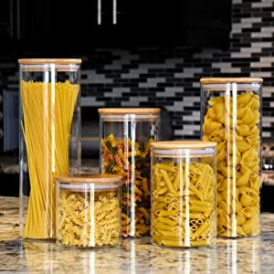 Glass Canister set of 5, Airtight Food Storage Containers, Canister Sets for Kitchen Counter, Glass Storage Jars with Bamboo Lid, Organization Containers Set for Flour, Sugar, Coffee and More